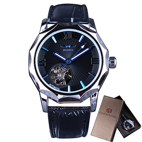 Winner Mechanical Watches Skeleton Blue Ocean Dial Polygonal Design ()