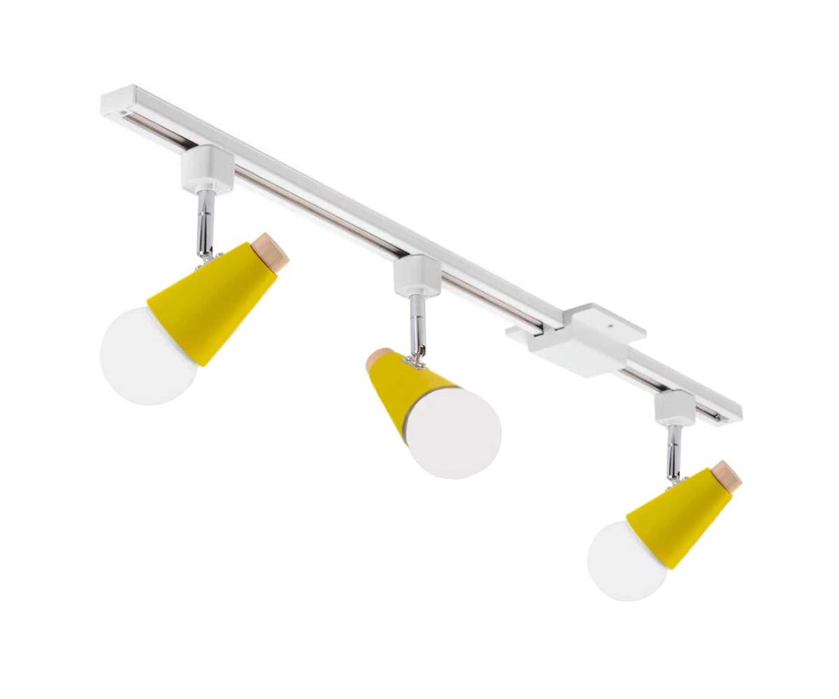 KIVEN 3-Lights Adjustable Track Lighting Kit H Track Light for Living Room, Kitchen, Utility Room (Yellow)