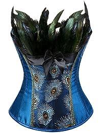 YAQKUOA Women's Peacock Corset Lace Up Boned Bustier Burlesque Lingerie Sets