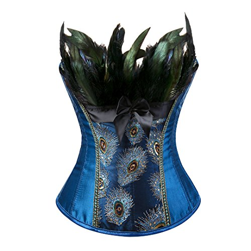 Women's Peacock Lace Up Blue Corset Overbust Waist Cincher Bustier Burlesque Lingerie Sets ()