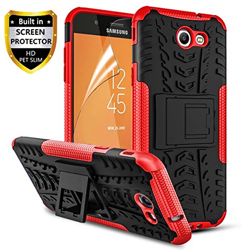 RioGree Phone Case for Samsung Galaxy J3 Luna Pro/Galaxy J3 Prime/Galaxy J3 Emerge /J3 Eclipse/J3 2017/ Amp Prime 2/Express Prime 2/Sol 2/J3 Mission, with Screen Protector Kickstand Cover Skin, Red