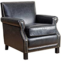 Abbyson Kennedy Antique Leather Club Chair, Antique Black