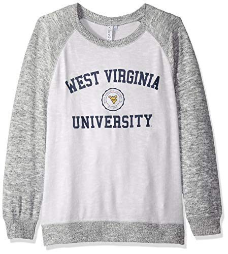 chicka-d NCAA Officially Licensed West Virginia University Ladies Cozy Crewneck Lightweight Sweatshirt/Sweater- WVU Mountaineers Women's Apparel
