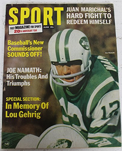 1966 Sport Magazine June Joe Namath NY Jets on Cover NO LABEL (Joe Namath Cover)