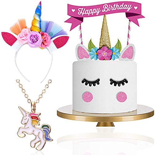 Unicorn Accessories for Girls: Horn Headband, Unicorn Gift Necklace and Party Cake Topper