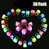 SCIONE Light Up Rings Kids 38 Pack Party Favor Ring Novelty Glow Jelly Blinking Bulk (LED Rings38 pcs)