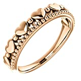 Stackable Beaded Heart Comfort-Fit Ring, 14k Rose Gold, Size 7.25