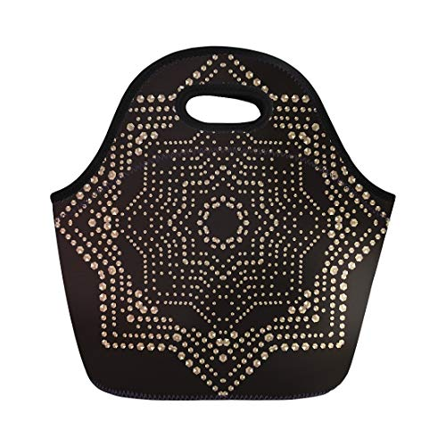 Semtomn Neoprene Lunch Tote Bag Christmas Gold Snowflake Crystal Precious Beautiful Jewelry Pattern Brilliant Reusable Cooler Bags Insulated Thermal Picnic Handbag for Travel,School,Outdoors,Work
