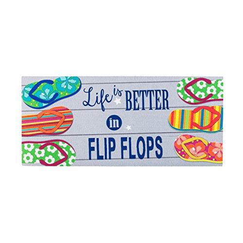 Evergreen Life Is Better in Flip Flops Sassafrass Decorative Mat Insert, 10 x 22 - Sassafras Life