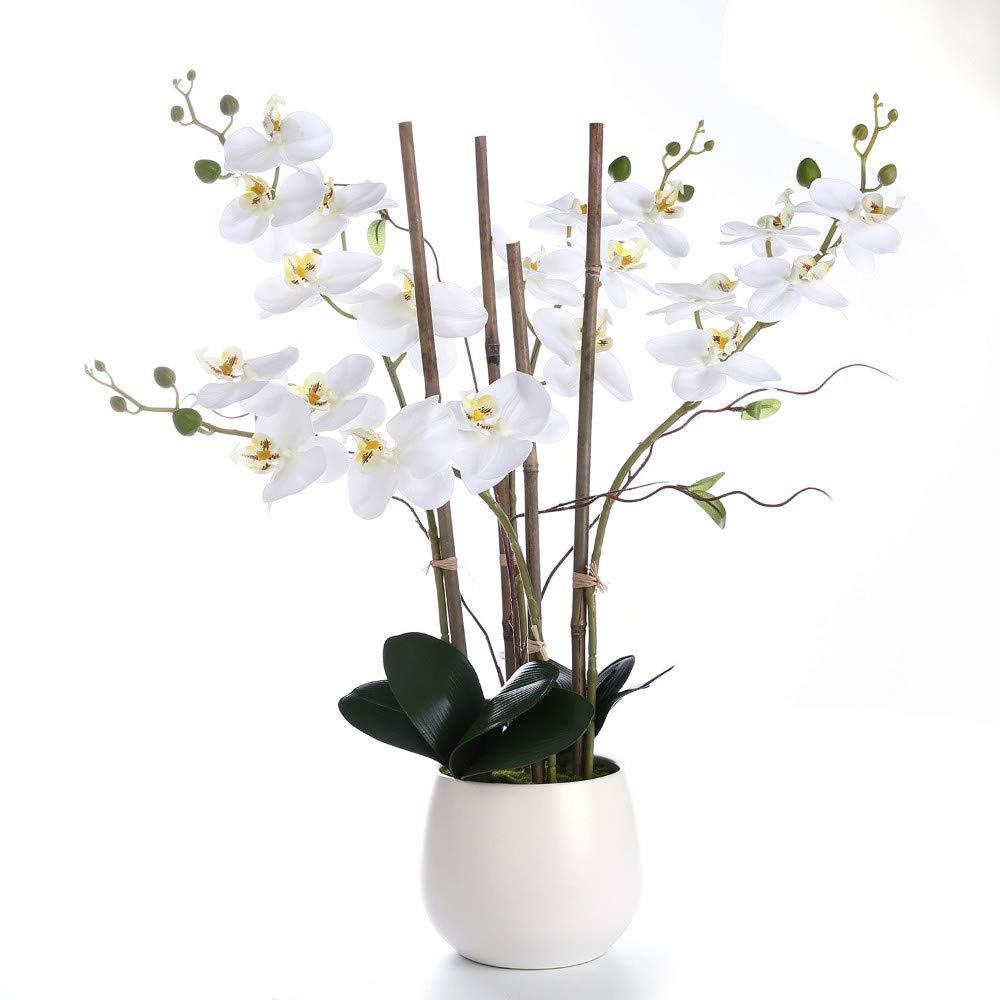 MARJON 花 ホワイト シルク 蘭 造花 アレンジメント 花瓶付き 本物のような質感 センターピース 装飾 ギフトチョイス B07PSKNVVR
