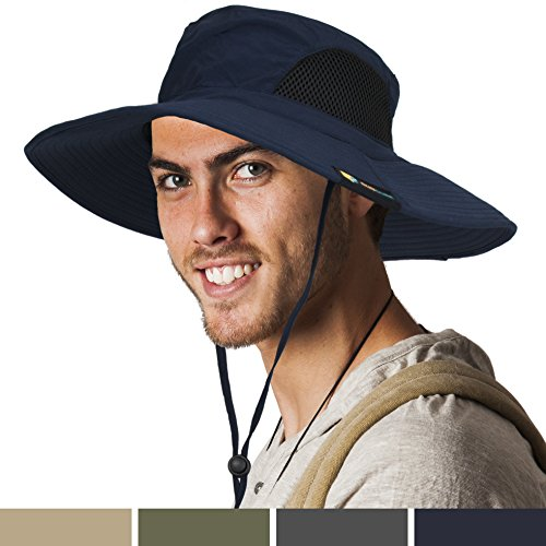 SUN CUBE Premium Outdoor Sun Boonie Hat With Wide Brim, Adjustable Chin Strap for Fishing, Hiking, Safari, Travel by Summer Sun Protection, UPF 50+, Breathable| Packable Cap for Men, Women (Navy) Boonie Hat Nylon Hat
