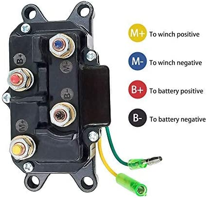 Triumilynn 12V Solenoid Relay Contactor /& Winch Rocker Thumb Switch Combo for ATV UTV