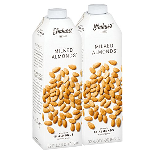 Almond Milk Ingredients - Elmhurst Milked Almond Milk - 32 Fluid Ounces (Pack of 2) Only 5 Ingredients, 4X the Protein, Non Dairy, Keto Friendly, No Added Gums or Emulsifiers, Vegan