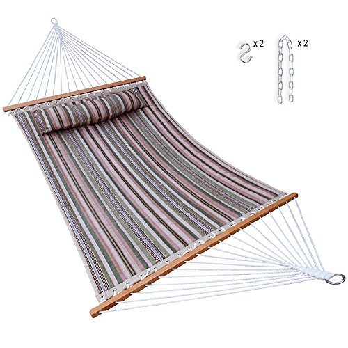 Hammock Quilted Fabric with Pillow Double Size Spreader Bar Heavy Duty Stylish for Outdoor Garden Patio, 14 FT, 2 Person 450 lbs Capacity(Green Stripe)