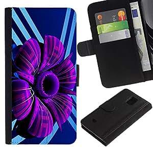 All Phone Most Case / Oferta Especial Cáscara Funda de cuero Monedero Cubierta de proteccion Caso / Wallet Case for Samsung Galaxy S5 Mini, SM-G800 // Purple Abstract Flower