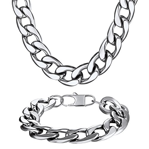 U7 Men 12mm Stainless Steel Chain Set Big Statement Hip Hip Jewelry Curb Cuban Link Bracelet & Necklace (8.3