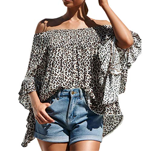Botrong Off Shoulder Tops for Women, Flare Sleeve Leopard Print Shirt Blouse Yellow -