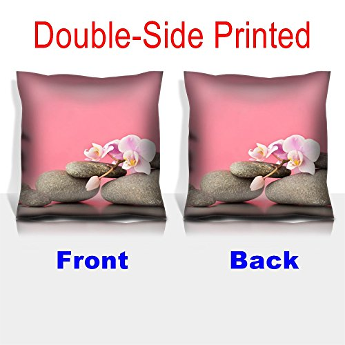 MSD Throw Pillowcase Polyester Satin Comfortable Decorative Soft Pillow Covers Protector sofa 16x16, 1pack IMAGE ID 27140351 Spa stones on pink background with orchids by MSD (Image #1)