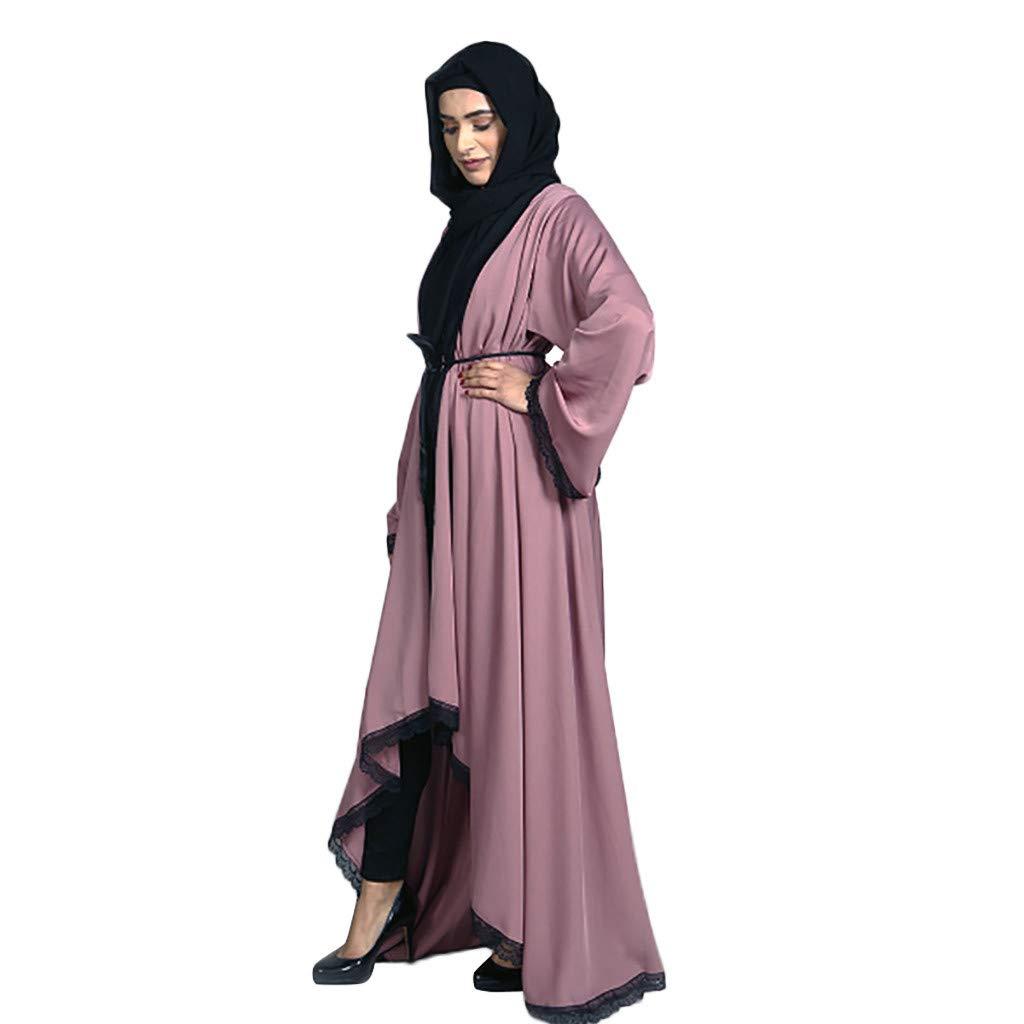 Dubai Maxi Islamic Open Cardigan Front Muslim Jilbab Abaya Arab Kaftan Robe Gown