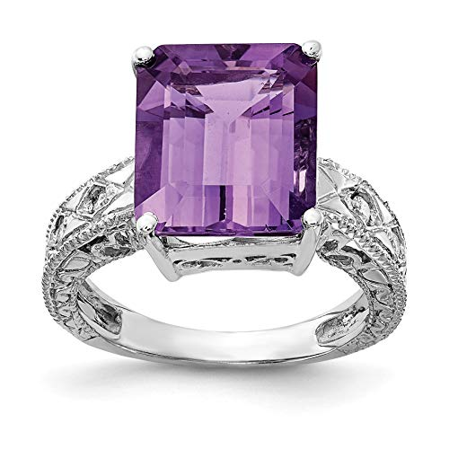 Bonyak Jewelry 14k White Gold 12x10mm Emerald Cut Amethyst AA Diamond Ring - Size 6 Amethyst Aa Diamond Ring