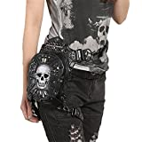 Search : Gothic Steampunk Skull Bag Women Leather Rivet Waist Small Motorcycle Leg Bag for Men