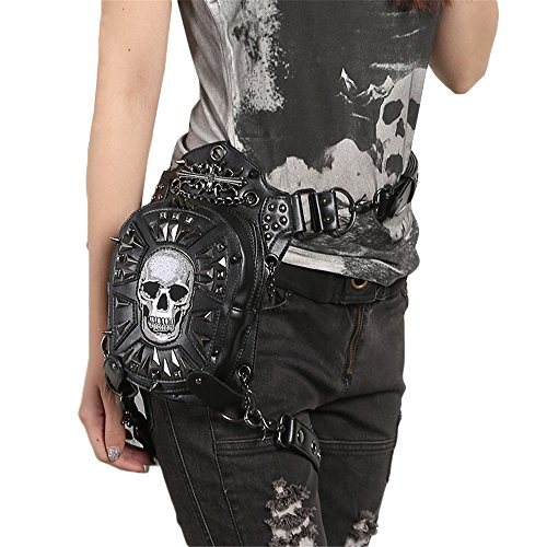 Gothic Steampunk Skull Bag Women Leather Rivet Waist Small Motorcycle Leg Bag for Men (Skull Gothic Bag)