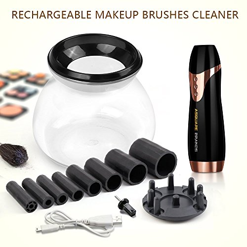 Makeup Brush Cleaner & Dryer Kit, Rechargeable, Premium Quality, Professional Brush Cleaner & Dryer, Quick & Simple 3 Step Process, Works for Almost All Brush Sizes.(Black).ASquareBrands.