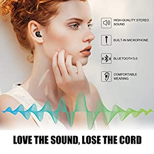 Wireless Earbuds, Letscom True Wireless Bluetooth 5.0 Earbuds, 3D Stereo Sound Earphones, Wireless Bluetooth Headphones with Built-in Mic and Portable Charging Box from LETSCOM