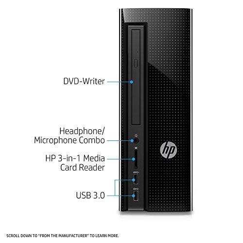 HP Slimline Desktop Computer, AMD E2-9000, 4GB RAM, 1TB hard drive, Windows 10 (270-a011, Black) by HP (Image #1)
