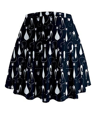 Cowcow–gatos y gatitos Mini Flare falda azul marino
