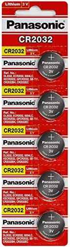 Strip of 5 Panasonic CR2032 3V Coin Lithium Batteries