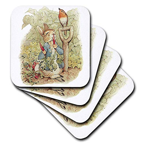 - 3dRose CST_110164_3 Peter Rabbit in The Garden Vintage Art Ceramic Tile Coasters, Set of 4