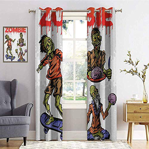 hengshu Zombie Shading Insulated Curtain Dead Man Eating Brain Cannibal Meditating Skate Boarding Graphic Pattern for Living Room or Bedroom W84 x L84 Inch Olive Green Red Dust (More Brains A Return To The Living Dead)