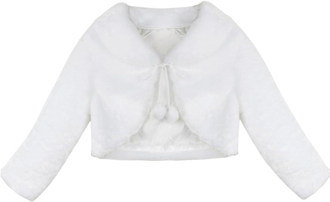 Agoky Infant Baby Girls Princess Faux Fur Shrug Cape Coat Wedding Bridesmaid Birthday Party Bolero Jacket