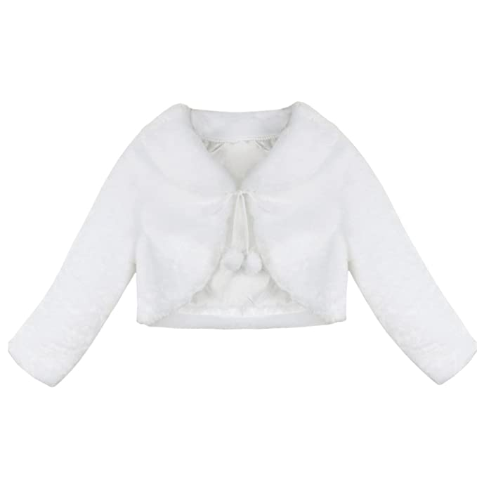Amazon.com: Alvivi Little Girls White Faux Fur Long Sleeve Bridesmaid Wedding Flower Dress Bolero Shrug Jacket Coat: Clothing