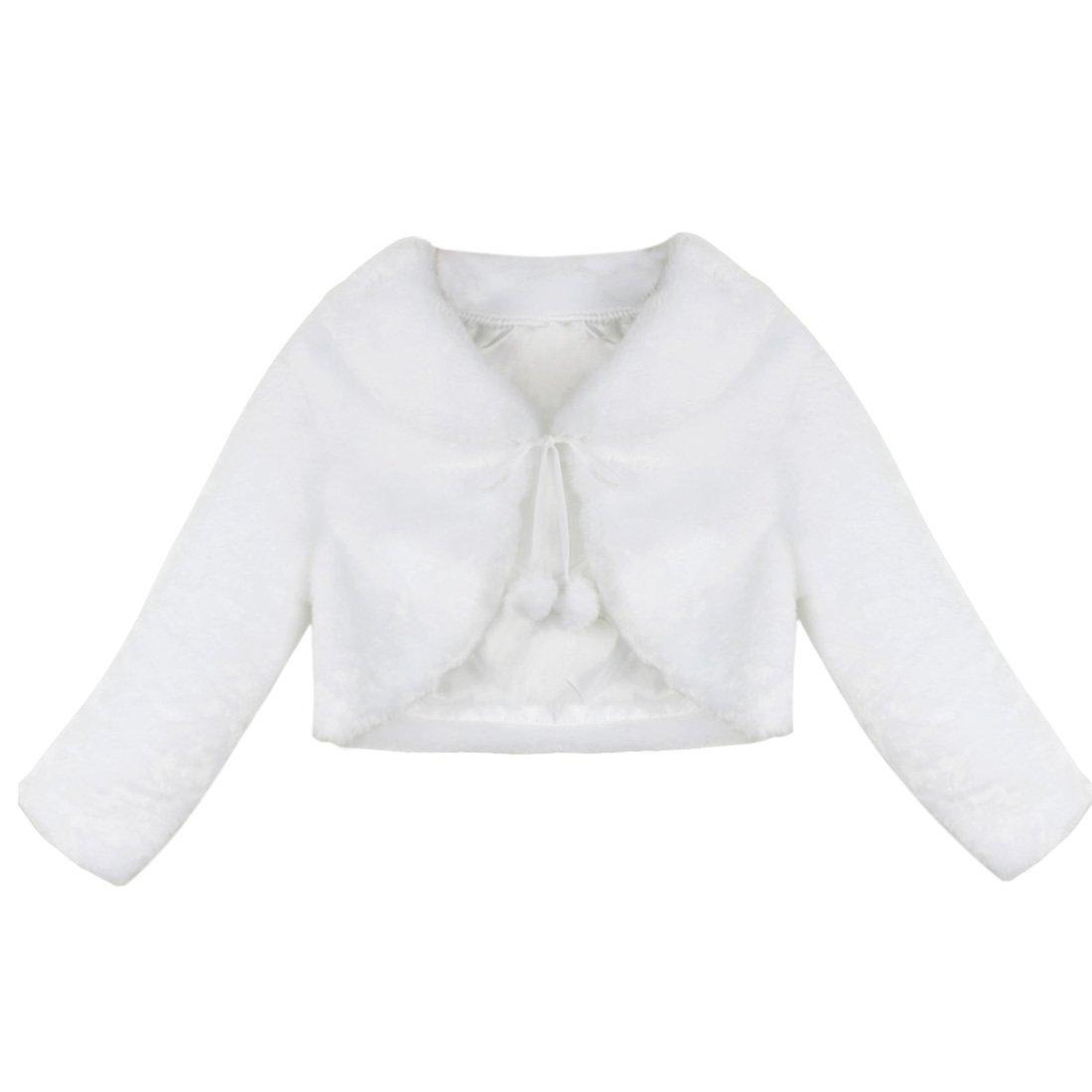 iEFiEL Girls Baptism Flower Dress Wedding Faux Fur Bolero Jacket Shrug Ivory 7-8 by iEFiEL