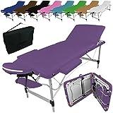 Linxor France ® Table de massage pliante 3 zones en aluminium + accessoires et housse de transport - Neuf coloris - Norme CE- Violet