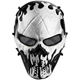 Airsoft Mask Full Face, Halloween Ghost Mask, Tactical Skull Mask with Metal Mesh Eye Protection, Paintball Mask for BB Cs War Game, Cosplay, Masquerade Party
