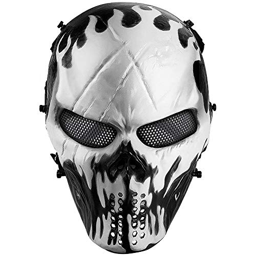 Cheap Full Face Halloween Masks (Airsoft Mask Full Face, Halloween Ghost Mask, Tactical Skull Mask with Metal Mesh Eye Protection, Paintball Mask for BB Cs War Game, Cosplay, Masquerade)