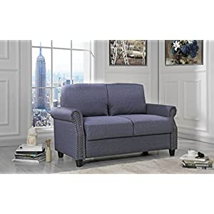 Sofamania Classic Living Room Linen Loveseat with Nailhead Trim and Storage Space