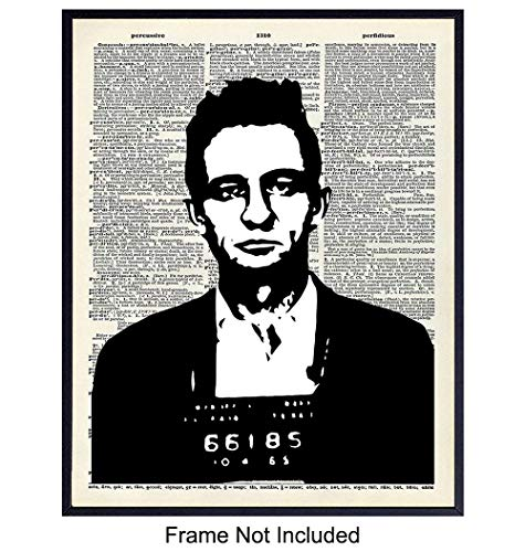 Johnny Cash Dictionary Wall Art Print - Vintage Upcycled Home Decor Perfect for Den, Office, Man Cave, Bedroom or Bathroom - Great Gift for Country Music Fans - 8x10 Photo - Unframed