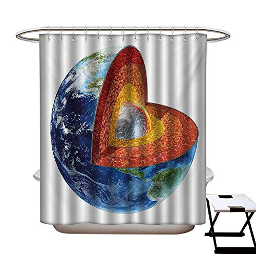 BlountDecor Earth Shower Curtain Collection by Earth Cross Section Showing The Inner Core Geology Science Themed Structure Print Patterned Shower Curtain W36 x L72 Multicolor