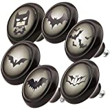 Furniture Door Knobs Mixed Set 0694 6 pcs Batman Black Modern Domed Shaped Surface in Shiny Glass Optics 45mm Cabinet Drawer Pull Handle Ceramic Porcelain Cupboard Home Decor Knob