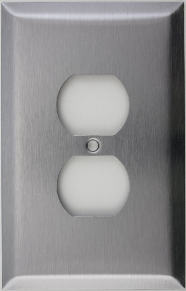 Oversized Jumbo Satin Stainless Steel One Gang Duplex Outlet Wall Plate