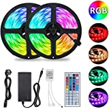 Oihxse LED Strip Lights Multi Color Changing Smart Music 5050 RGB Strip Waterproof 16.4ft 300 LED 12V Power Supply with IR 44 Keys Remote Control for Bedroom Party Bar Home Decora (color)