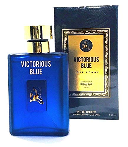 Inspired Versace By (Victorious Blue Perfume for Men, 3.4 oz,by Mirage Brand Fragrance Inspired by DYLAN BLUE BY VERSACE FOR MEN with NovoGlow Suede Pouch Included)