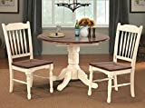 """British Isles 42"""" Round Double Drop-Leaf Dining Table - Merlot-Buttermilk"""