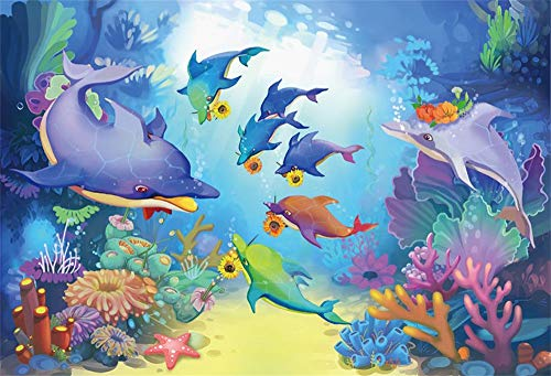 AOFOTO 5x3ft Underwater Dolphins Family Backdrop Wallpaper Beautiful Seabed View Coral Water Plants Rock Under The Sea Theme Party Birthday Baby Shower Background for Photography Photo Studio Props