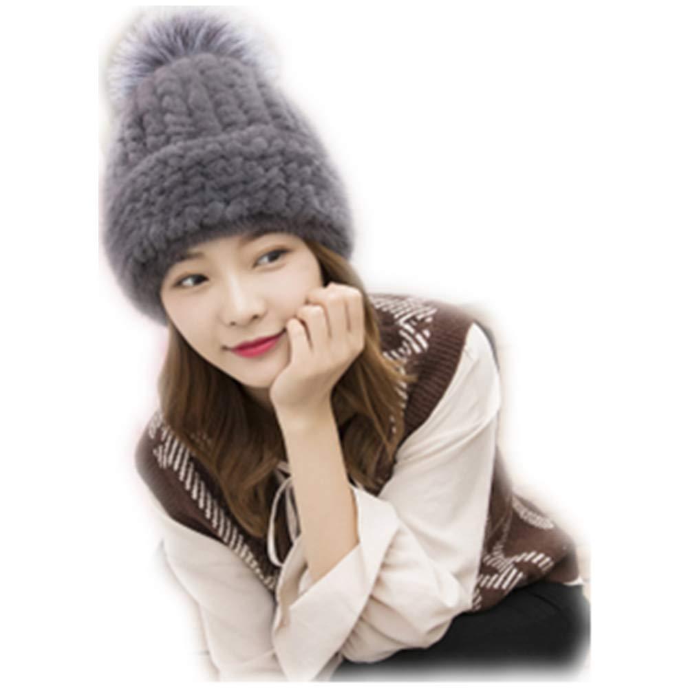 MH Bailment Womens Winter Hat Knitted Mink Fur tab Hats Fox Ball (M, Dark Gray)