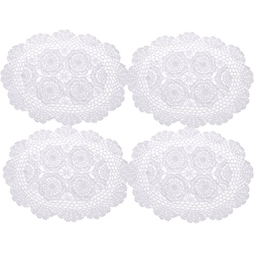 Oval Tablecloth Crochet Pattern (kilofly Crochet Cotton Lace Placemats Doilies 4pc, Oval, White, 12 x 17 inch)